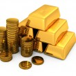 3d gold bars and coins — Stock Photo #6584126