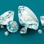 Blue Diamonds isolated on blue — Stock Photo