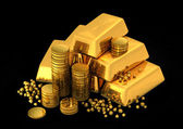 3d gold bars and coins — Stock Photo