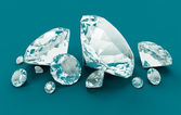 Blue Diamonds isolated on blue — Stock Photo