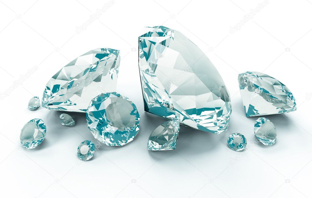 3d Blue Diamonds isolated on white  background — Stock Photo #6584277