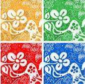 Four flowers backgrounds — Stock Vector