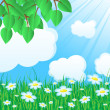 Blue background with grass and leaves — Stock Vector