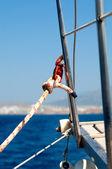 Knaga i liny szczegółowo jacht — Zdjęcie stockowe