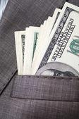 Dollars in the pocket of business suit — Foto de Stock