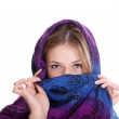 Blonde woman in shawl on white background — Photo