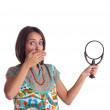 Picture of woman with magnifying glass — Stock Photo