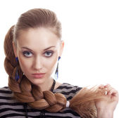 Beautiful Fashion Woman With Beautiful Braid Hair Isolated — Stock Photo
