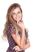 Casual happy blonde woman on white background — Stock Photo