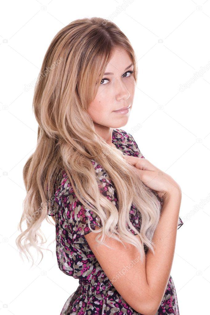 美丽的头发,在白色背景上的可爱女人
