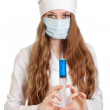 Stock Photo: Confident doctor preparing injection