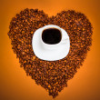 Coffee and Heart from beans — Stock Photo