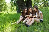 Tre studenti di leggere libri insieme all'aperto — Foto Stock