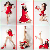 Collage - happy smiling woman in red xmas sexy costume — Stock Photo