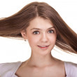 Portrait of a beautiful teen girl with long hairs and clean skin - Stock Photo