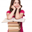 Stock Photo: Teen girl with lot of books, isolated on white