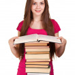 Teen girl with lot of books, isolated on white — Stock Photo #5683841
