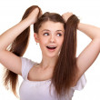 Stock Photo: Portrait of a beautiful teen girl with long hairs and clean skin