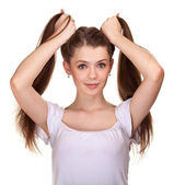 Portrait of a beautiful teen girl with long hairs and clean skin — Stock Photo