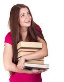 Jong meisje met boeken. geïsoleerd op witte achtergrond — Stockfoto