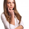 Portrait of a thinking woman looking on copyspace — Stock Photo #5870939