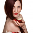 Beautiful woman and rose petals on white background — Stock Photo #5960772