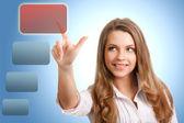 Feliz mujer exitosa hace la elección de la tecnología moderna — Foto de Stock