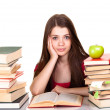 Teen girl with lot of books, isolated on white — Stock Photo #6401946