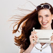 Beautiful sexy caucasian woman with purse — Stock Photo