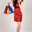 beautiful sexy caucasian woman in stylish dress with shopping ba — Stock Photo