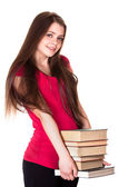 Young girl with books. Isolated on white background — Stock Photo
