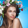 Beautiful woman with flower wreath. Space for text. — Stock Photo