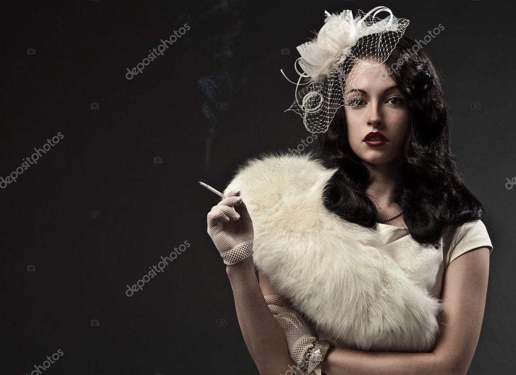 Beautiful Smoking Woman Retro Free Naked Pregnant Women