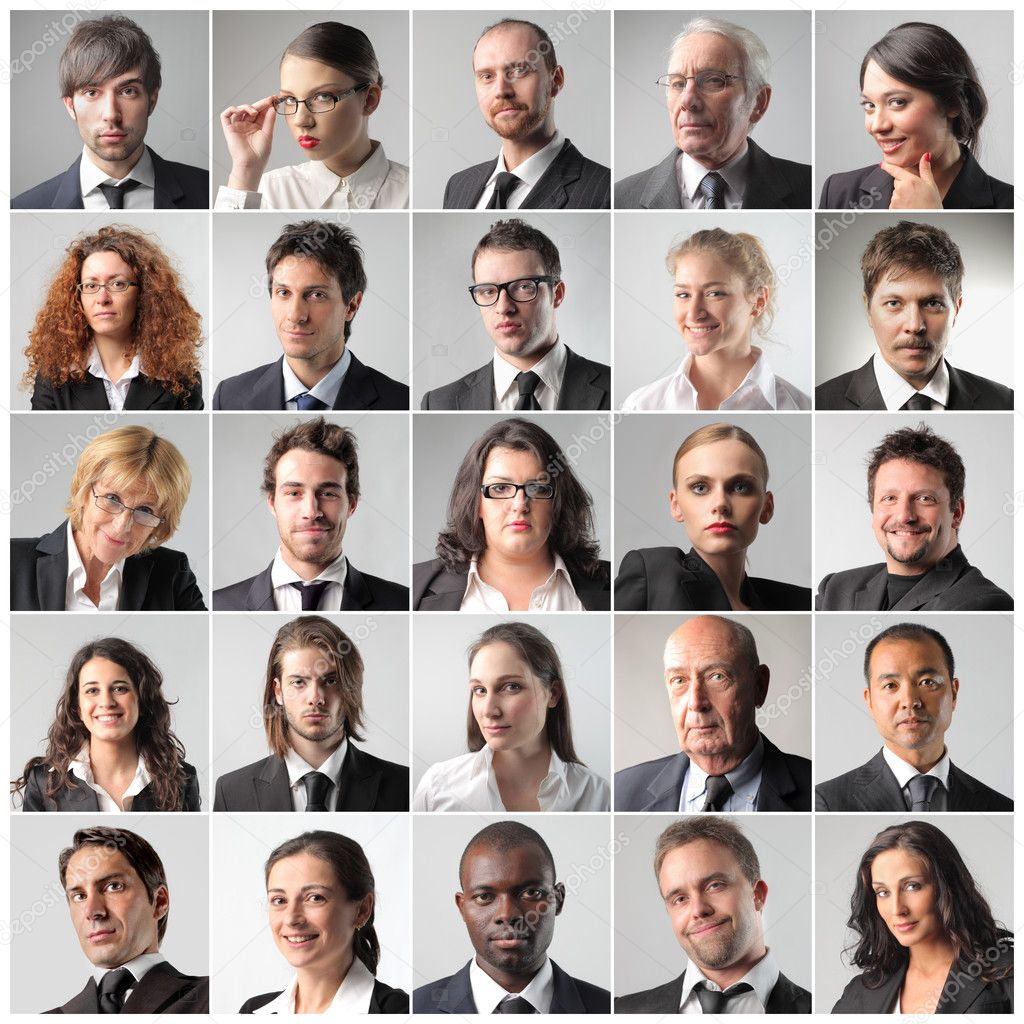 Composition of various portraits of business — Stock Photo #5752894