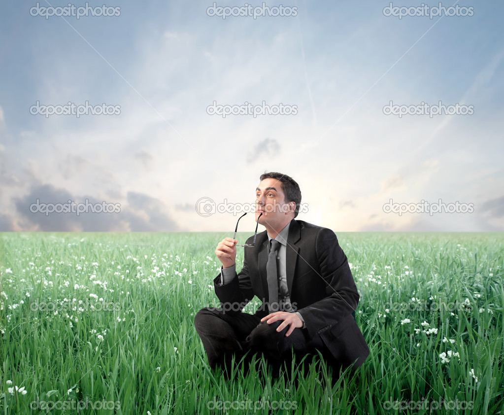Businessman with thoughtful expression sitting on a green meadow  Stock Photo #5947091