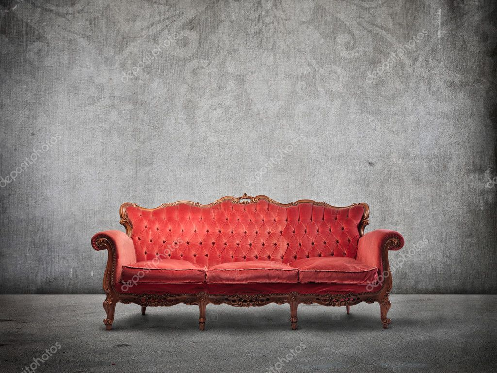 Old elegant velvet sofa in luxury background — Stock Photo #6319058