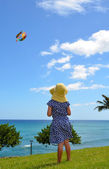 Girl Flying A Kite — Foto Stock