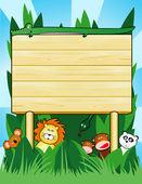 Customizable wooden sign, jungle — Stock Vector