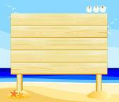 Customizable wooden sign on the beach, vector — Stock Vector
