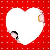 Big red heart with children, vector — Stock Vector