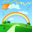 Kite flying - Stock Vector