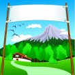Banner on mountain landscape — Stock Vector