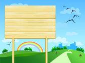 Wooden sign customizable — Stock Vector