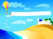 Balloon over the sea — Vector de stock