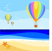 Balloon over the sea — Stock Vector