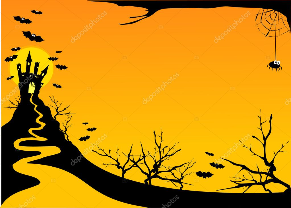 Halloween customizable horizontal background, vector   Stock Vector #5910011