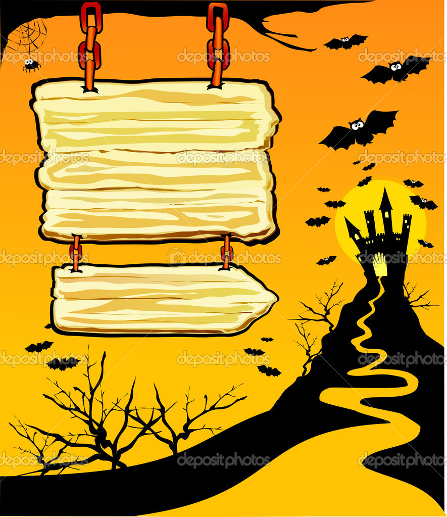 Halloween background with customizable sign, vector   Stock Vector #5910017
