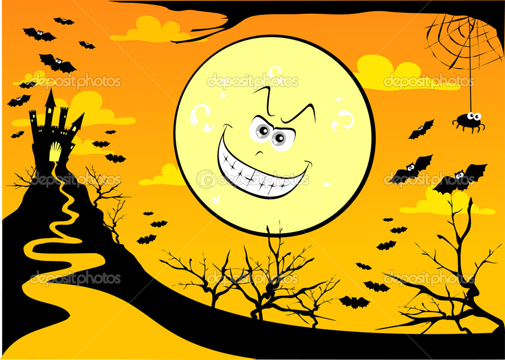 Wallpaper dedicated to Halloween with giant moon grinning, vector — Stock Vector #5910050