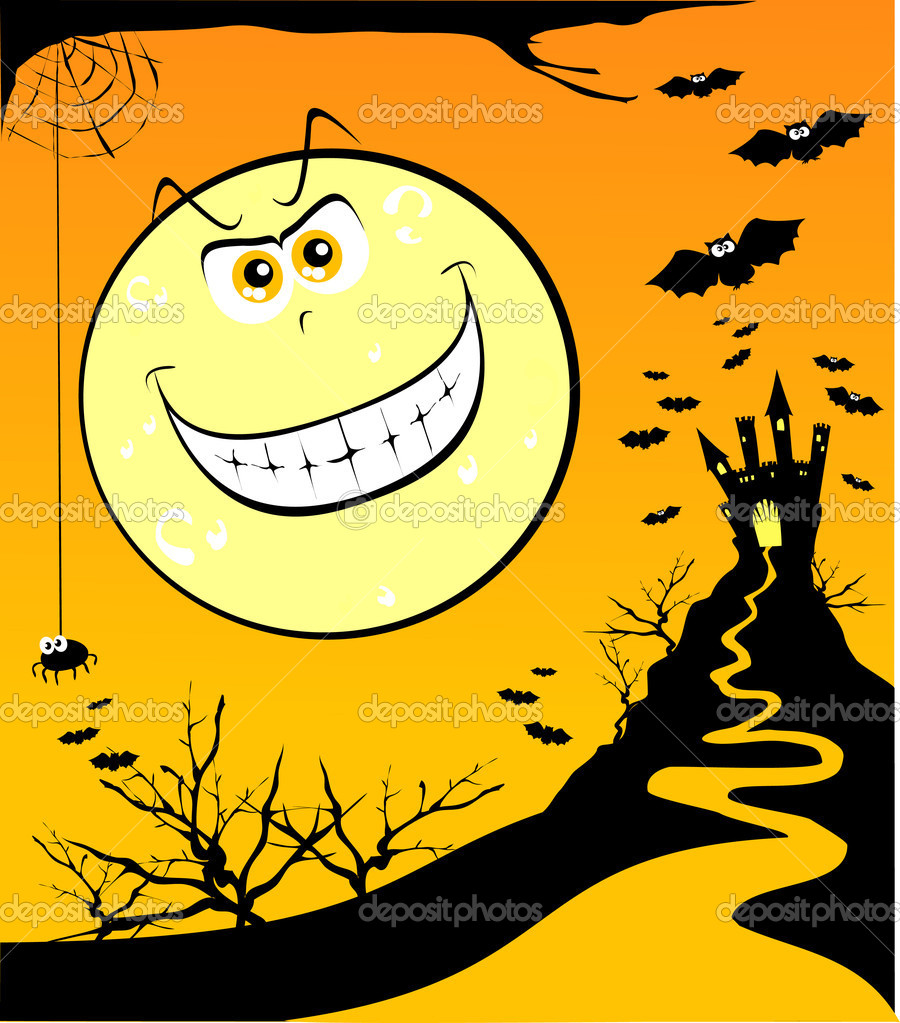 Wallpaper dedicated to Halloween with giant moon grinning, vector  Stock vektor #5910057