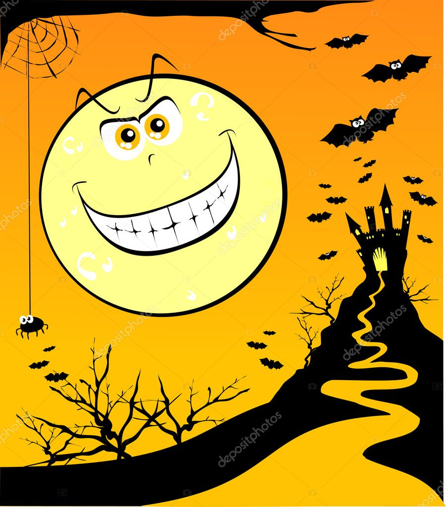 Wallpaper dedicated to Halloween with giant moon grinning, vector — Stock Vector #5910057